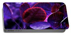 Bleeding Violet Smoke Bush Leaves - Pantone Violet Ec Portable Battery Charger