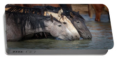 Blended Color Family Of Wild Horses Portable Battery Charger