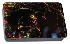 Portable Battery Charger featuring the photograph Blizzard Of Colorful Lights. Dancing Lights Series by Ausra Huntington nee Paulauskaite