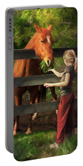 Blond With Horse Portable Battery Charger