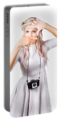 Blond Woman Framing Picture Portable Battery Charger
