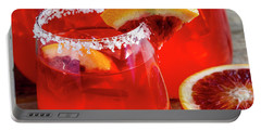Portable Battery Charger featuring the photograph Blood Orange Margaritas On The Rocks by Teri Virbickis
