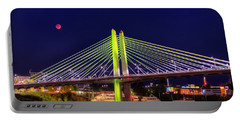 Blood Red Moon Over Tilikum Crossing Portable Battery Charger