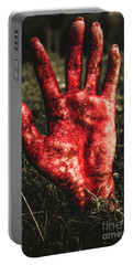Blood Stained Hand Coming Out Of The Ground At Night Portable Battery Charger