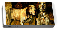 Portable Battery Charger featuring the painting Bloodhounds Lou Ellen Chattin 1914 by Peter Gumaer Ogden
