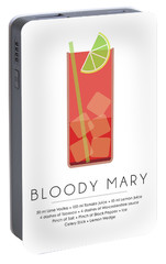 Bloody Mary Classic Cocktail - Minimalist Print Portable Battery Charger by Studio Grafiikka