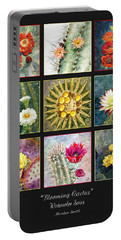 Portable Battery Charger featuring the painting Blooming Cactus by Marilyn Smith