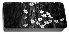 Blooming Dogwoods In Yosemite Black And White Portable Battery Charger
