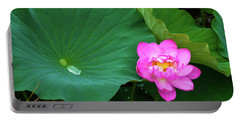Blooming Pink And Yellow Lotus Lily Portable Battery Charger