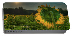 Blooming Sunflower Facing Rising Sun Portable Battery Charger
