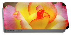 Blooming Yellow And Pink Rose Portable Battery Charger by Teri Virbickis