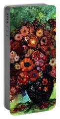 Blooms And Black Onyx Portable Battery Charger