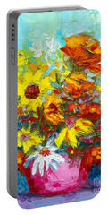 Colorful Wildflowers, Abstract Floral Art  Portable Battery Charger