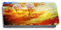 Portable Battery Charger featuring the painting Blossom Dawn by Winsome Gunning