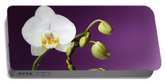 Blossoming White Orchid On Purple Background Portable Battery Charger