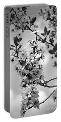 Blossoms In Black And White Portable Battery Charger