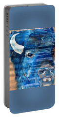 Portable Battery Charger featuring the painting Blu Bison by Patty Sjolin
