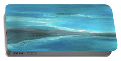 Portable Battery Charger featuring the painting Blue Abstract Art In The Middle Of The Ocean by Saribelle Rodriguez