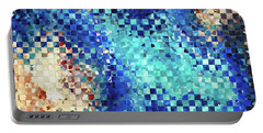 Portable Battery Charger featuring the painting Blue Abstract Art - Pieces 2 - Sharon Cummings by Sharon Cummings