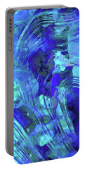Portable Battery Charger featuring the painting Blue Abstract Art - Reflections - Sharon Cummings by Sharon Cummings