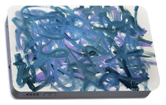 Portable Battery Charger featuring the painting Blue Abstract by Megan Dirsa-DuBois