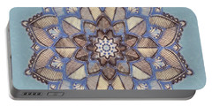 Blue And White Mandala Portable Battery Charger