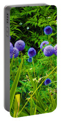 Blue Allium Flowers Portable Battery Charger by Judi Saunders