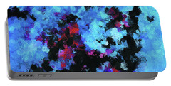 Portable Battery Charger featuring the painting Blue And Black Abstract Wall Art by Ayse Deniz
