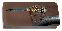 Blue And Gold Dragonfly Portable Battery Charger by Christopher Holmes