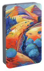 Portable Battery Charger featuring the painting Blue And Gold by Gary Coleman