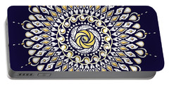Portable Battery Charger featuring the digital art Blue And Gold Lens Mandala by Deborah Smith