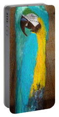Blue And Gold Macaw Portable Battery Charger by Ann Michelle Swadener