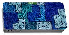 Portable Battery Charger featuring the drawing Blue And Green Abstract 2 by Megan Walsh