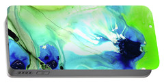 Portable Battery Charger featuring the painting Blue And Green Abstract - Land And Sea - Sharon Cummings by Sharon Cummings