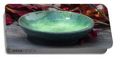 Blue And Green Shallow Bowl Portable Battery Charger