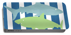 Blue And Green Sharks- Art By Linda Woods Portable Battery Charger
