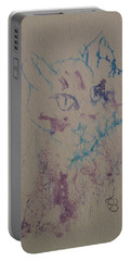 Portable Battery Charger featuring the drawing Blue And Purple Cat by AJ Brown