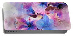 Blue And Purple Flowers Portable Battery Charger by Judi Saunders
