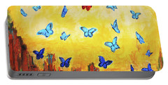 Blue And Red Butterflies Portable Battery Charger by Haleh Mahbod