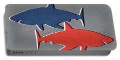 Blue And Red Sharks Portable Battery Charger by Linda Woods