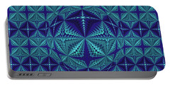 Blue And Turquoise Symmetrical Pattern, Kaleidoscope Portable Battery Charger
