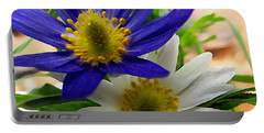Blue And White Anemones Portable Battery Charger