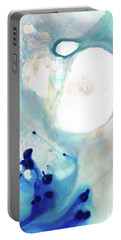 Portable Battery Charger featuring the painting Blue And White Art - A Short Wave - Sharon Cummings by Sharon Cummings
