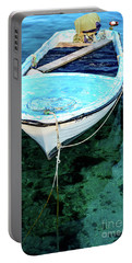 Blue And White Fishing Boat On The Adriatic - Rovinj, Croatia Portable Battery Charger