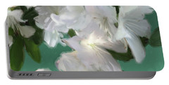 Blue And White Flower Art 3 Portable Battery Charger