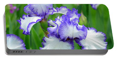 Portable Battery Charger featuring the photograph Blue And White Iris by Rodney Campbell