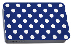 Portable Battery Charger featuring the mixed media Blue And White Polka Dots- Art By Linda Woods by Linda Woods