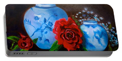 Blue And White Pottery And Red Roses Portable Battery Charger