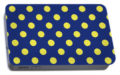 Portable Battery Charger featuring the mixed media Blue And Yellow Polka Dots- Art By Linda Woods by Linda Woods