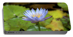 Blue And Yellow Water Lily Portable Battery Charger